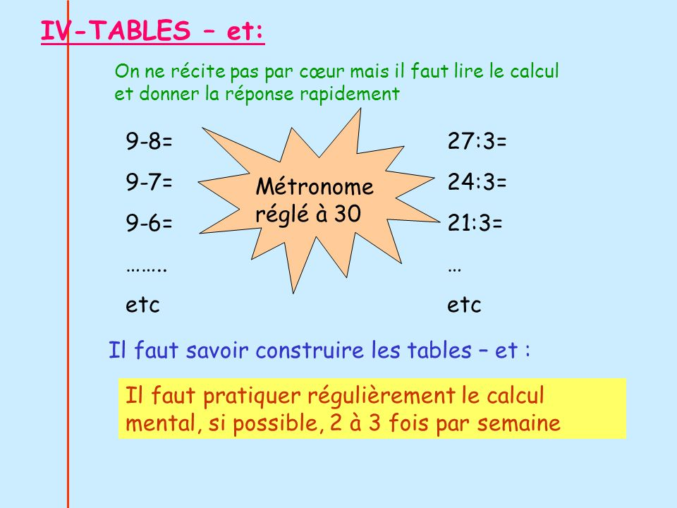IV-TABLES – et: 9-8= 9-7= 9-6= …….. etc 27:3= 24:3= 21:3= … etc
