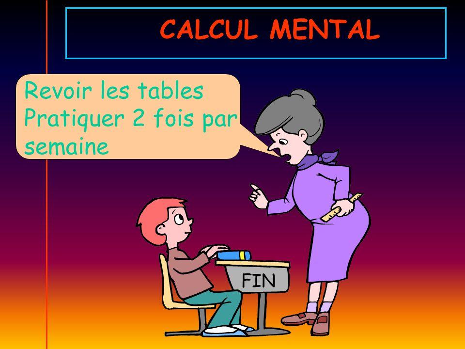 CALCUL MENTAL Revoir les tables Pratiquer 2 fois par semaine FIN