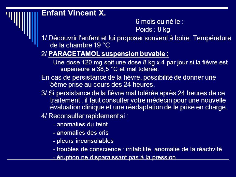 Enfant Vincent X. 6 mois ou né le : Poids : 8 kg