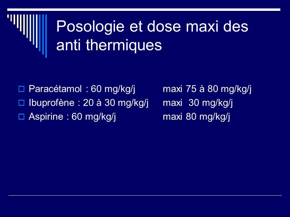 Posologie et dose maxi des anti thermiques
