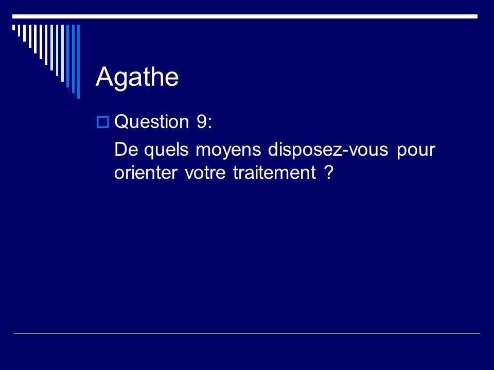 Agathe Question 9: De quels moyens disposez-vous pour orienter votre traitement