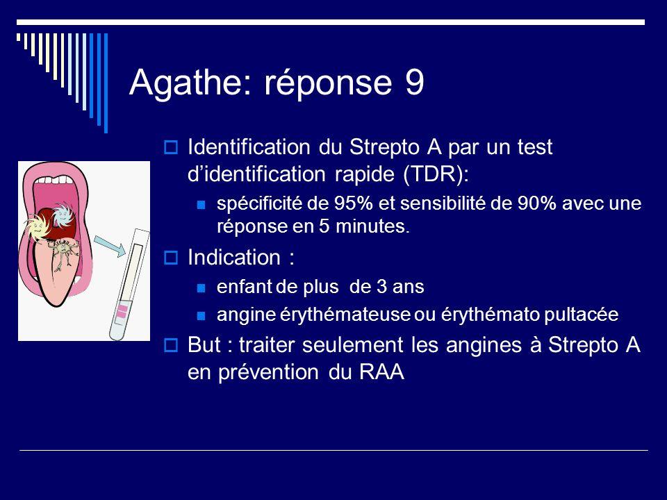 Agathe: réponse 9Identification du Strepto A par un test d'identification rapide (TDR):