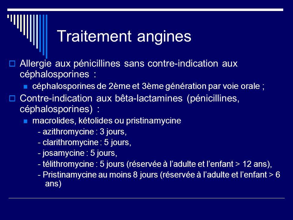 Traitement anginesAllergie aux pénicillines sans contre-indication aux céphalosporines : céphalosporines de 2ème et 3ème génération par voie orale ;