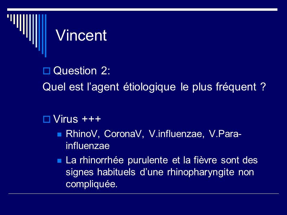 Vincent Question 2: Quel est l'agent étiologique le plus fréquent