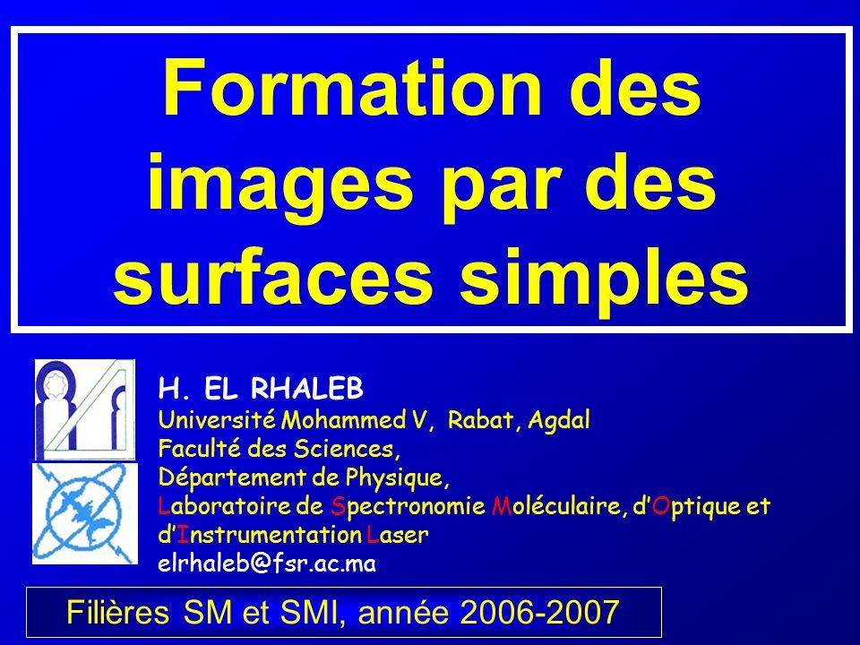 Formation des images par des surfaces simples