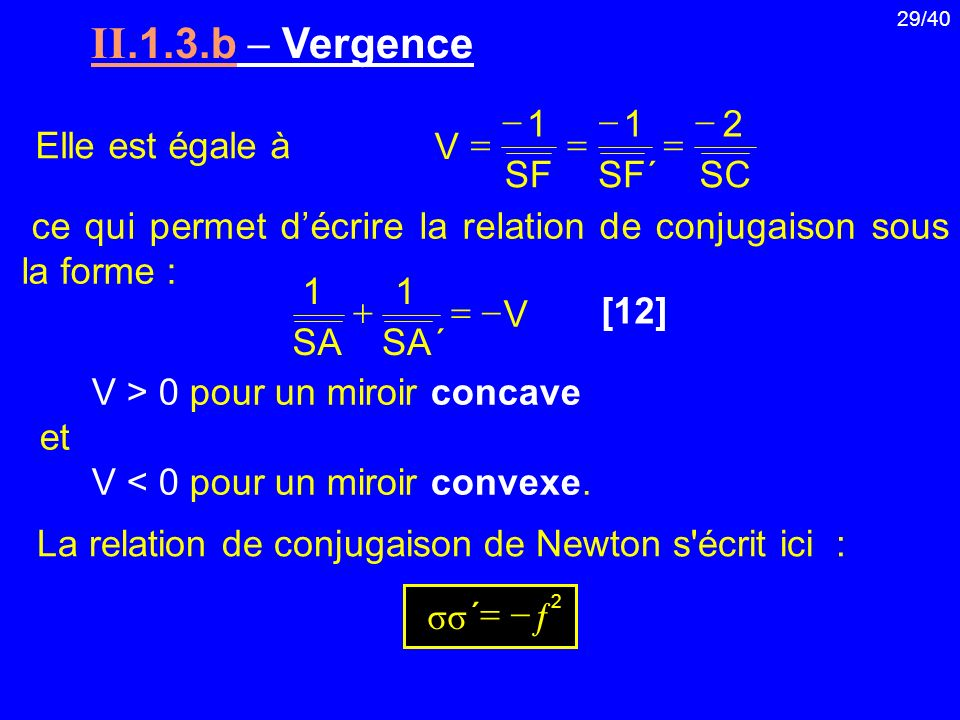 II.1.3.b  Vergence SC 2 ´ SF 1 V - = Elle est égale à