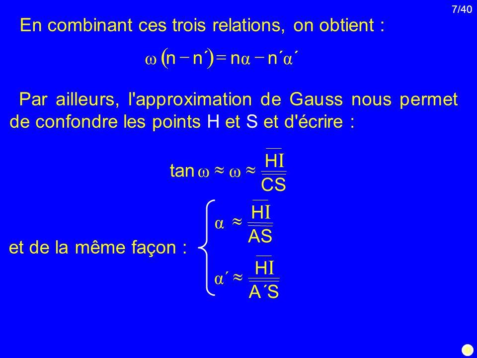 ( ) En combinant ces trois relations, on obtient : ´ n α ω - =