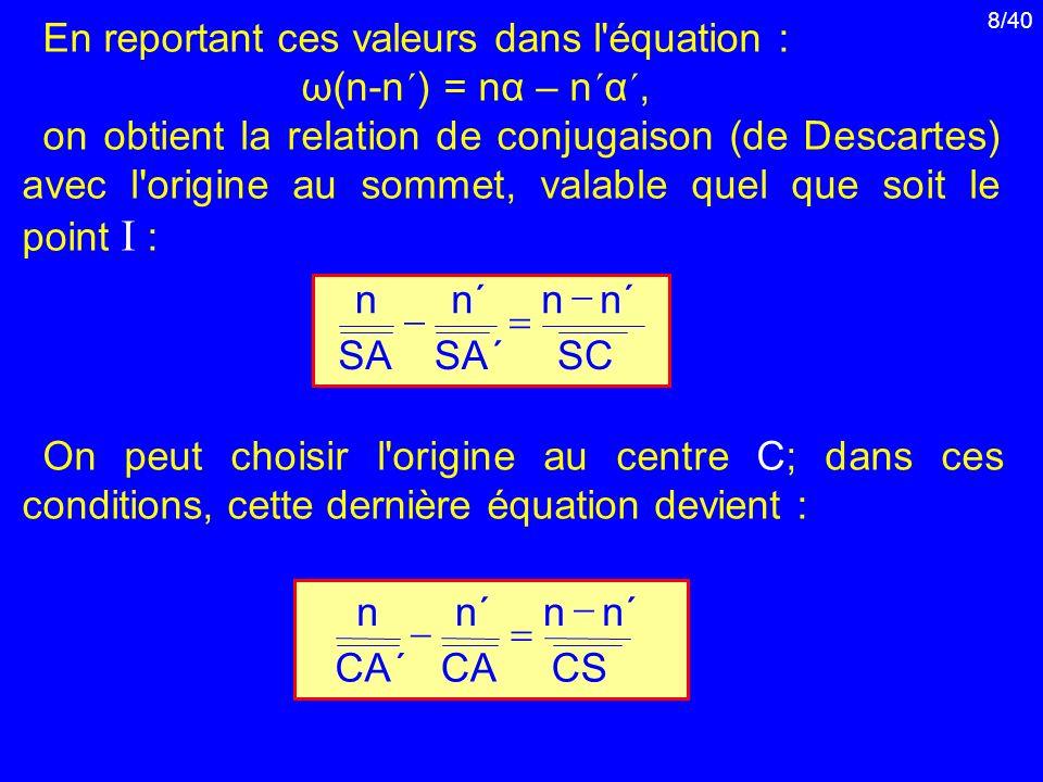 En reportant ces valeurs dans l équation :