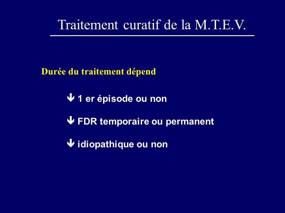 Traitement curatif de la M.T.E.V.