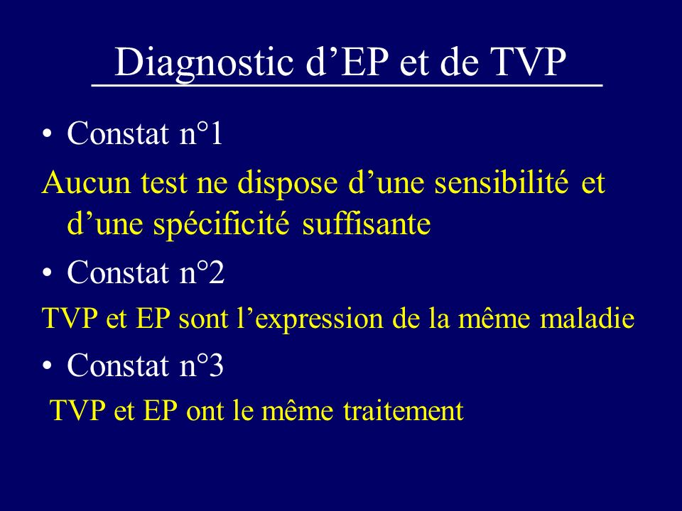 Diagnostic d'EP et de TVP
