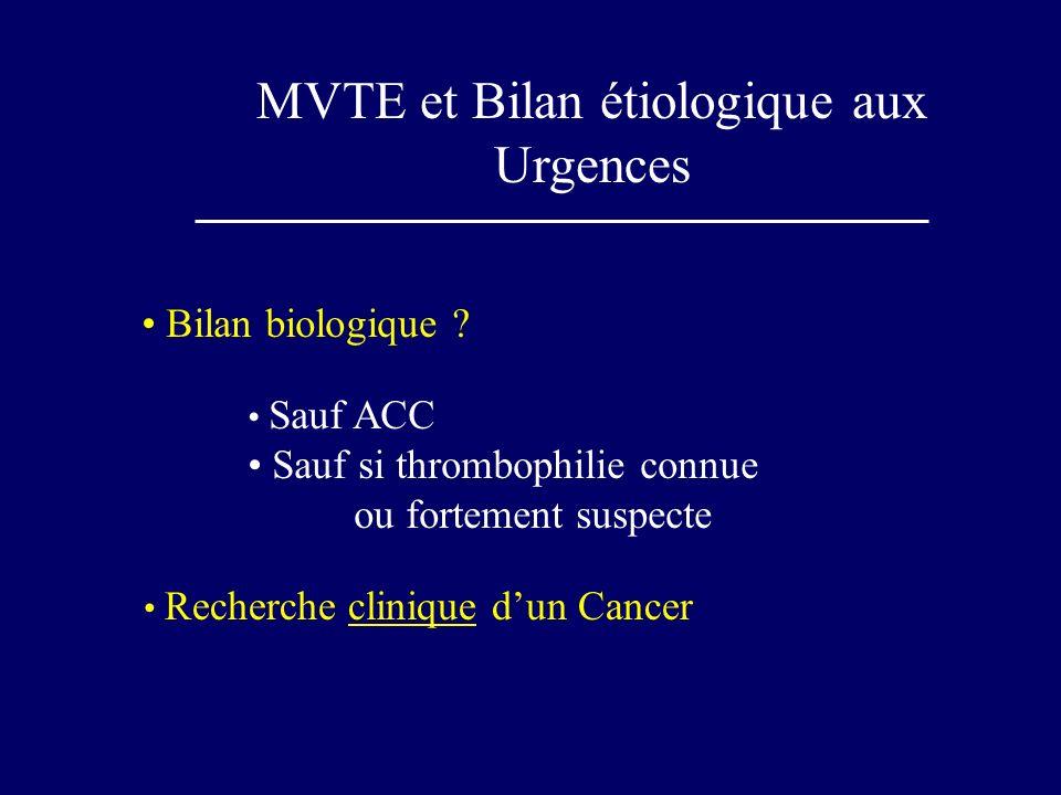 MVTE et Bilan étiologique aux Urgences