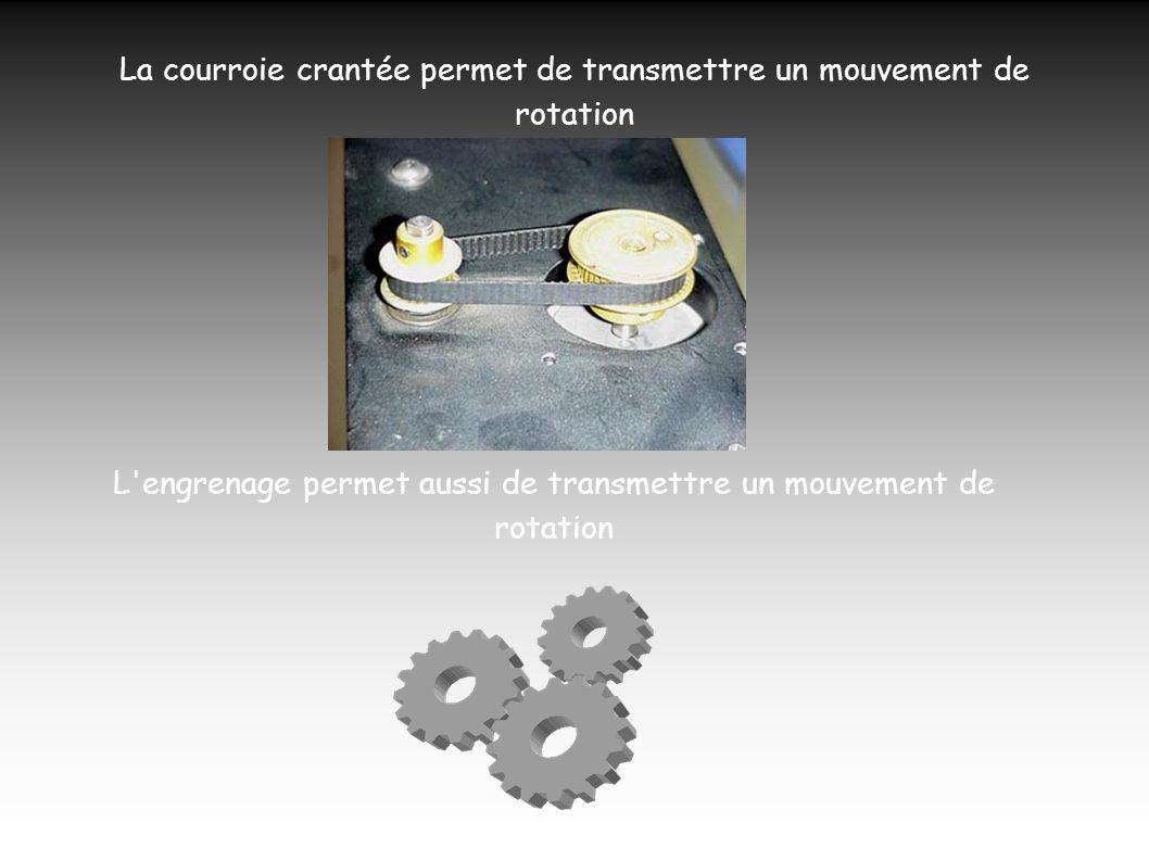 La courroie crantée permet de transmettre un mouvement de rotation