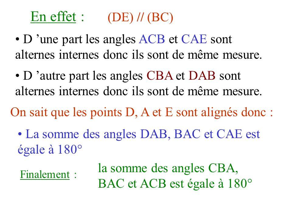 En effet :(DE) // (BC) D 'une part les angles ACB et CAE sont alternes internes donc ils sont de même mesure.