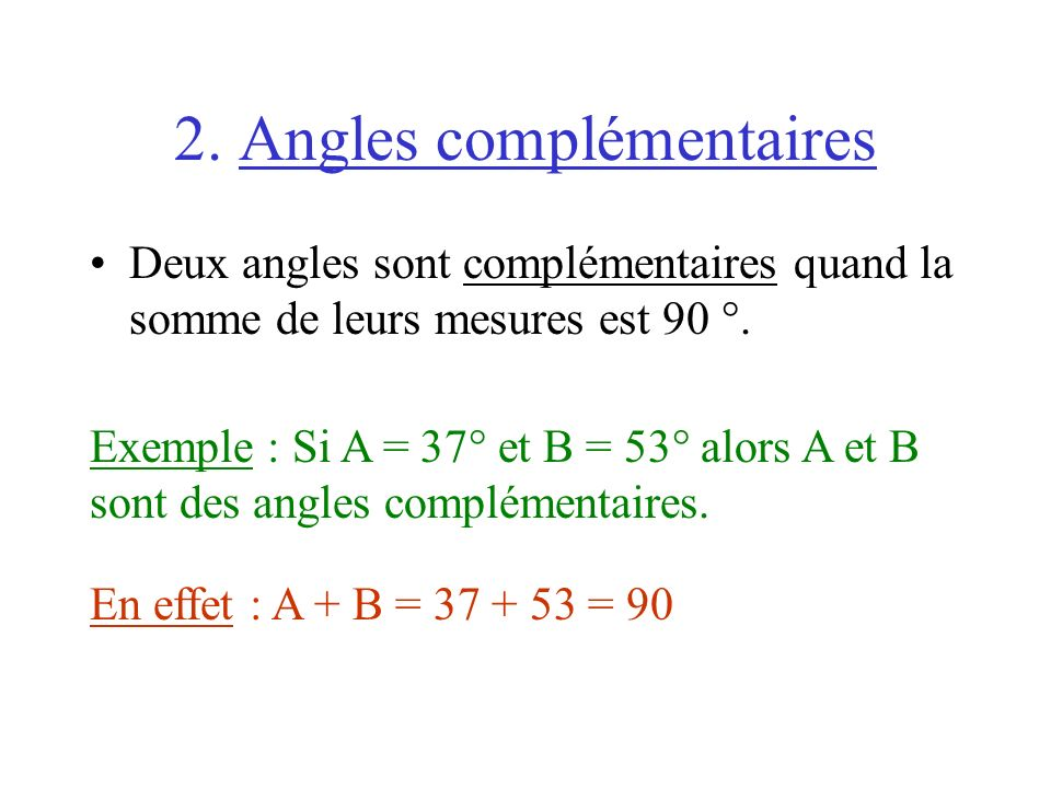 2. Angles complémentaires
