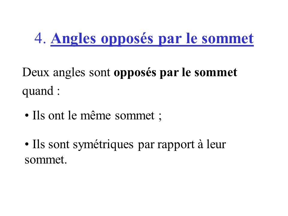 4. Angles opposés par le sommet