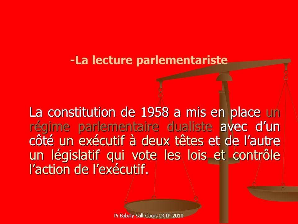 -La lecture parlementariste