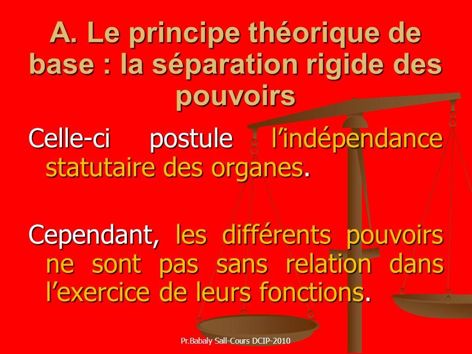 A. Le principe théorique de base : la séparation rigide des pouvoirs