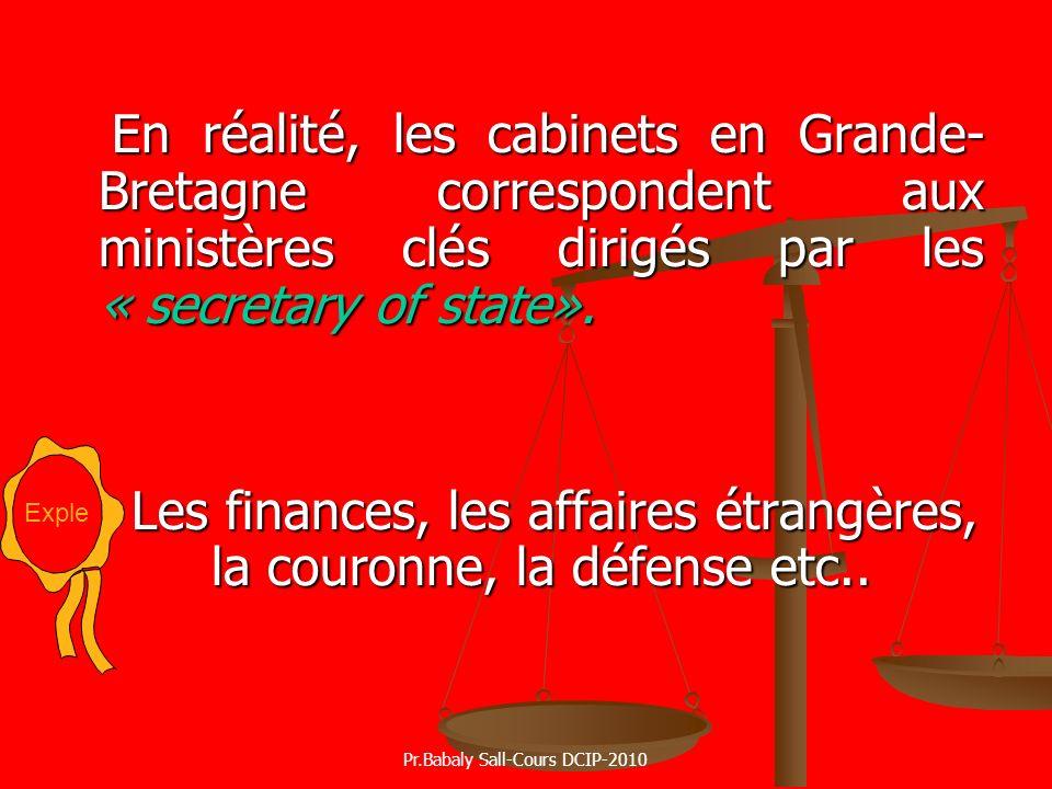 Les finances, les affaires étrangères, la couronne, la défense etc..
