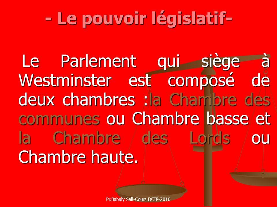 - Le pouvoir législatif-
