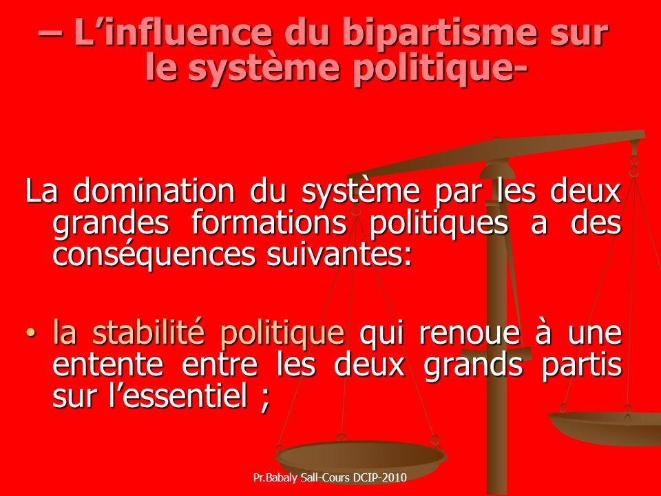 – L'influence du bipartisme sur le système politique-