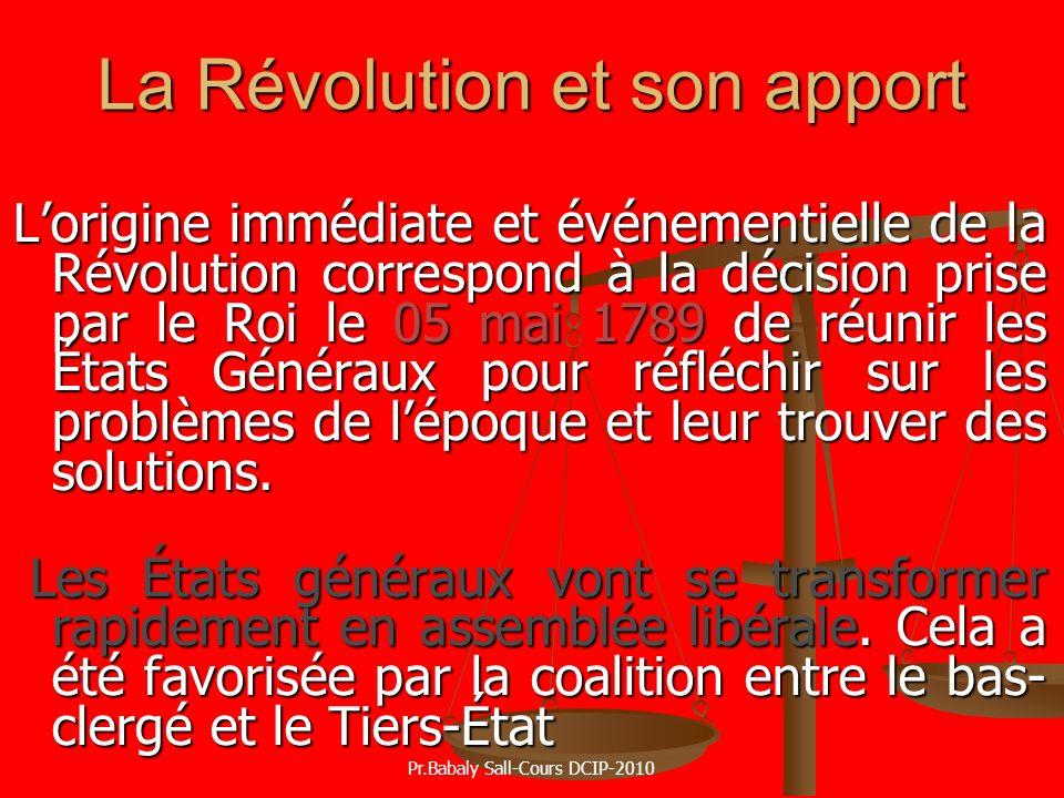La Révolution et son apport