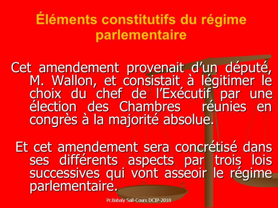 Éléments constitutifs du régime parlementaire