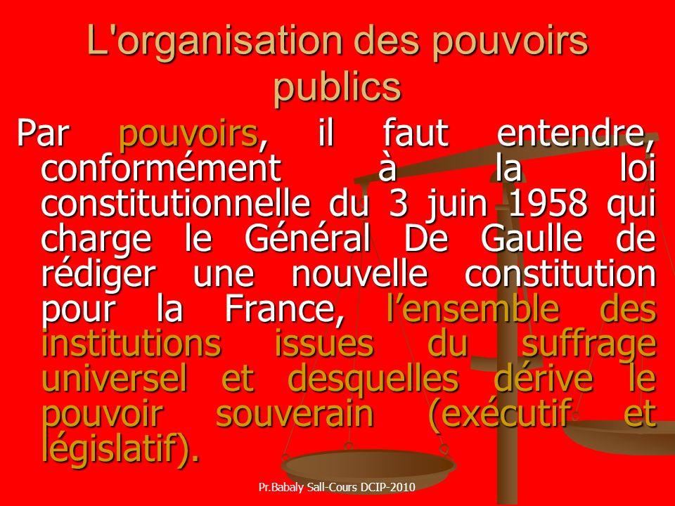 L organisation des pouvoirs publics
