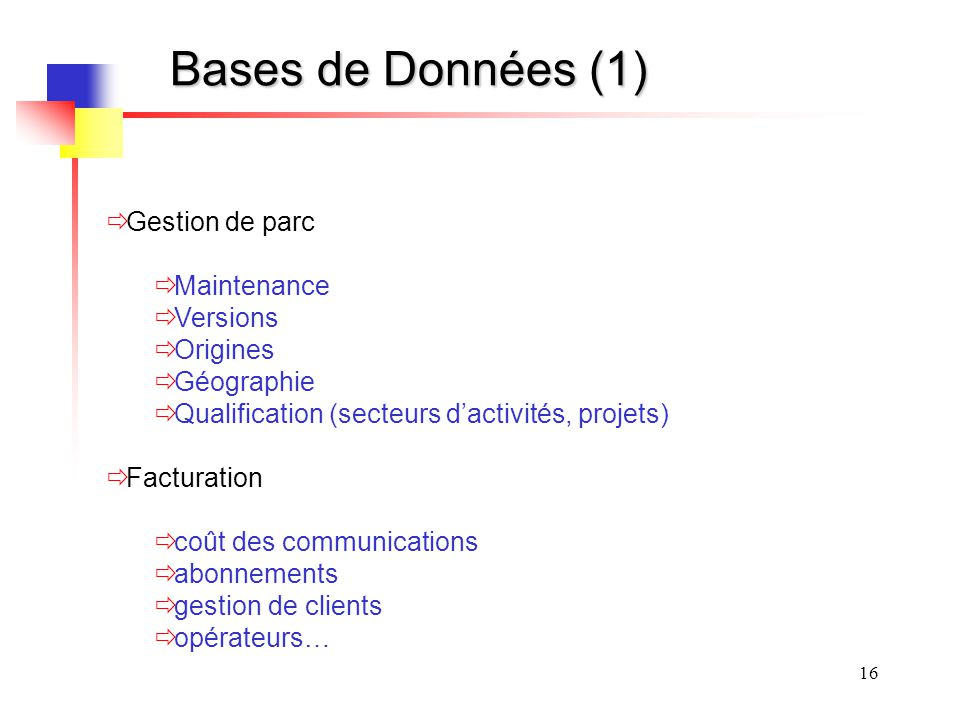 Bases de Données (1) Gestion de parc Maintenance Versions Origines