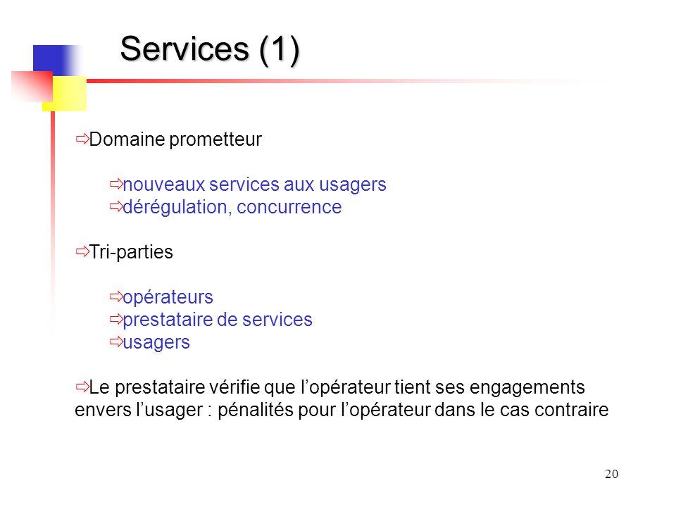 Services (1) Domaine prometteur nouveaux services aux usagers