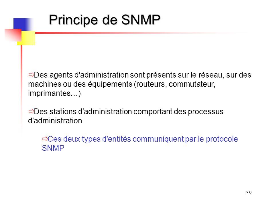 Principe de SNMP Des agents d administration sont présents sur le réseau, sur des machines ou des équipements (routeurs, commutateur, imprimantes…)