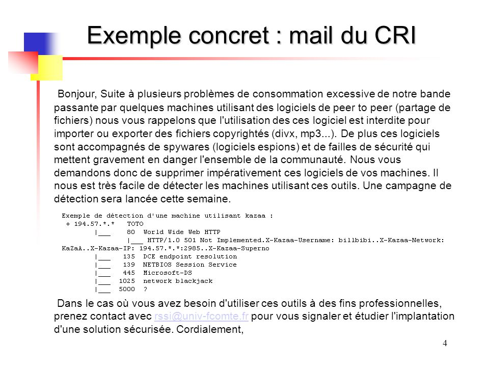 Exemple concret : mail du CRI