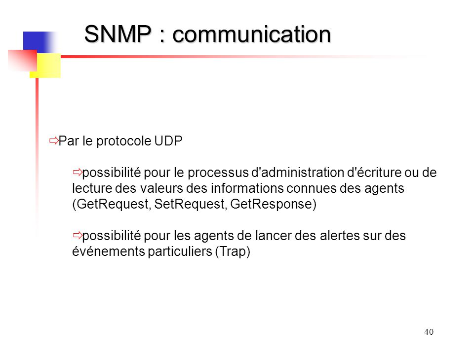SNMP : communication Par le protocole UDP