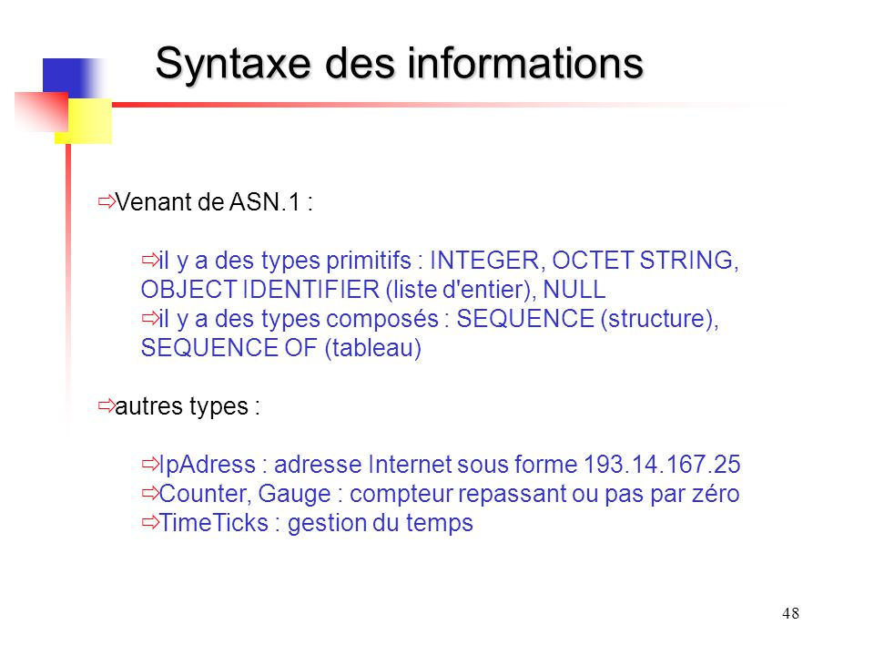 Syntaxe des informations