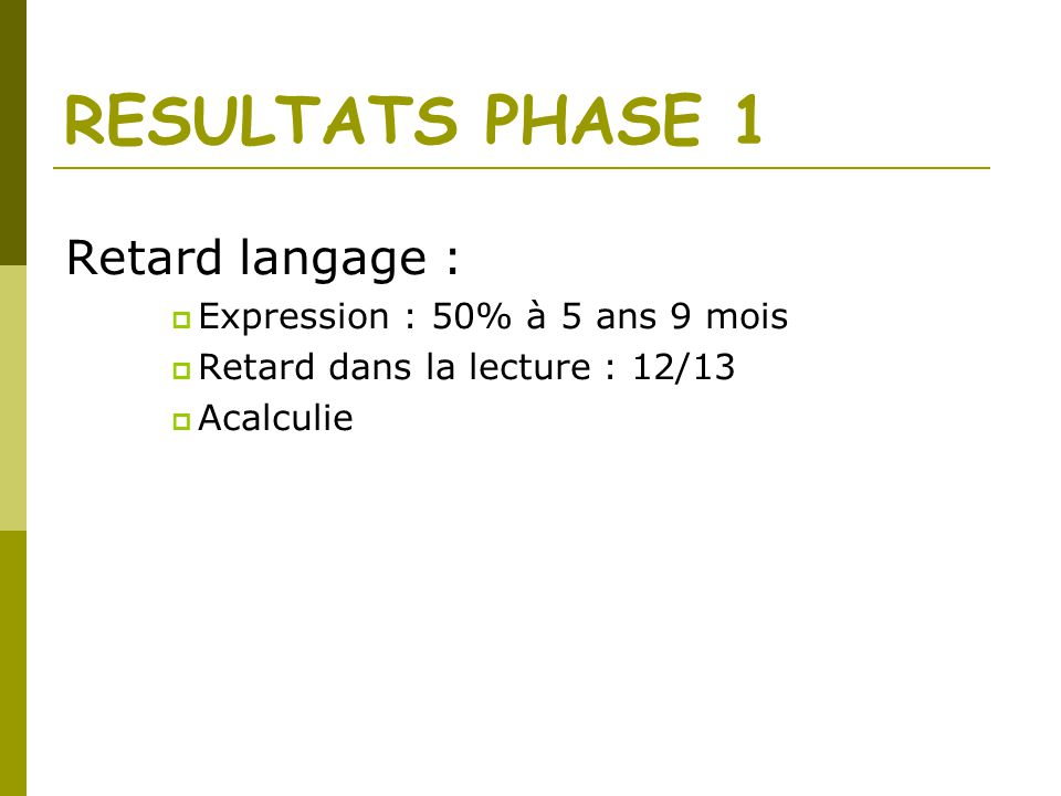 RESULTATS PHASE 1 Retard langage : Expression : 50% à 5 ans 9 mois