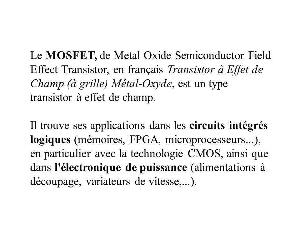 Le MOSFET, de Metal Oxide Semiconductor Field Effect Transistor, en français Transistor à Effet de Champ (à grille) Métal-Oxyde, est un type transistor à effet de champ.