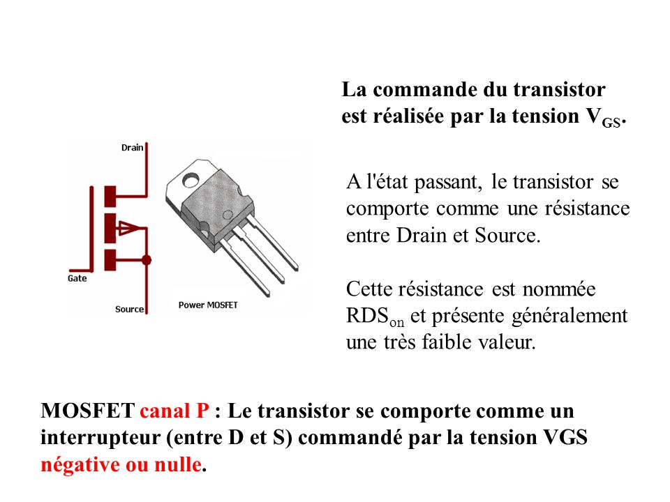 La commande du transistor est réalisée par la tension VGS.