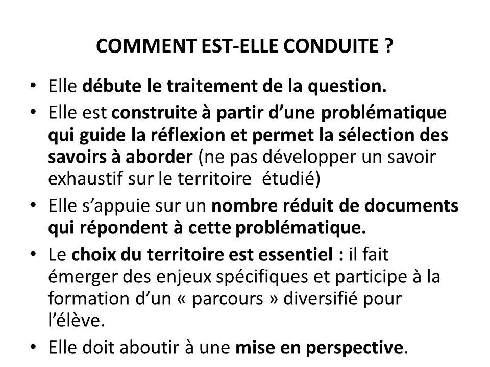 COMMENT EST-ELLE CONDUITE