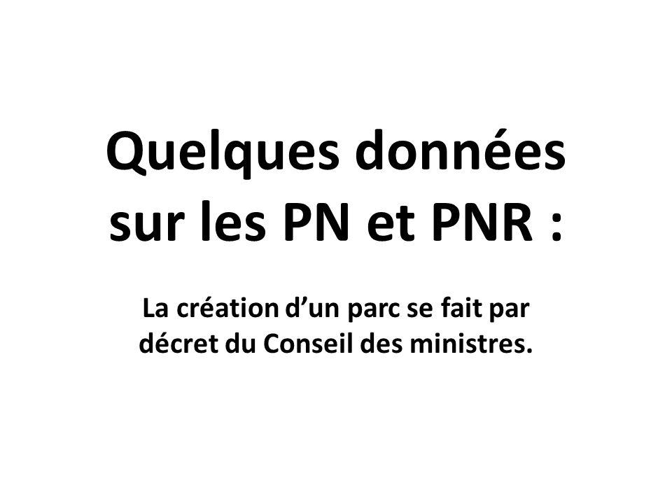 Quelques données sur les PN et PNR :