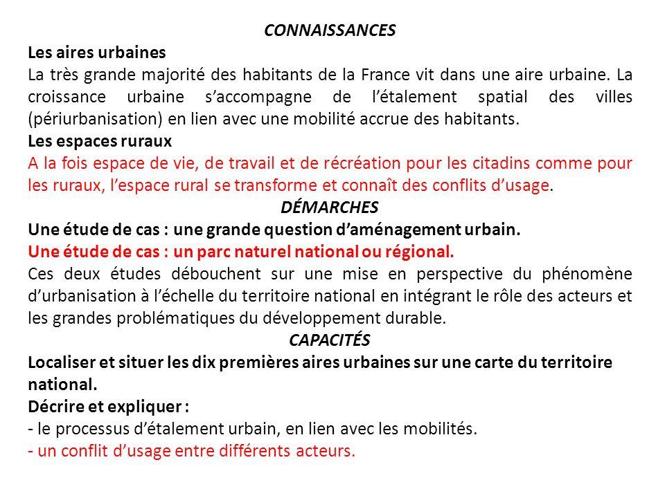 CONNAISSANCES Les aires urbaines.