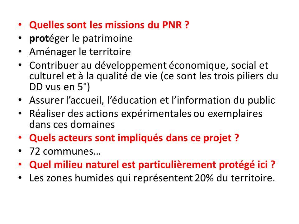 Quelles sont les missions du PNR