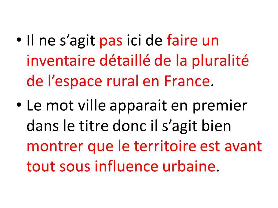 Il ne s'agit pas ici de faire un inventaire détaillé de la pluralité de l'espace rural en France.