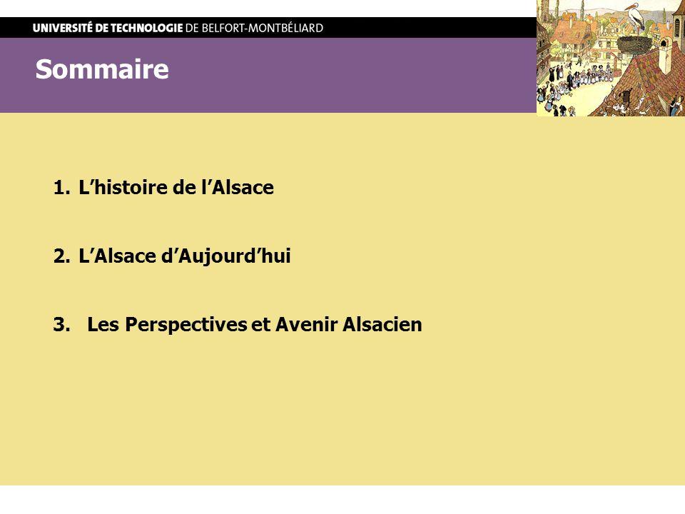 Sommaire L'histoire de l'Alsace L'Alsace d'Aujourd'hui