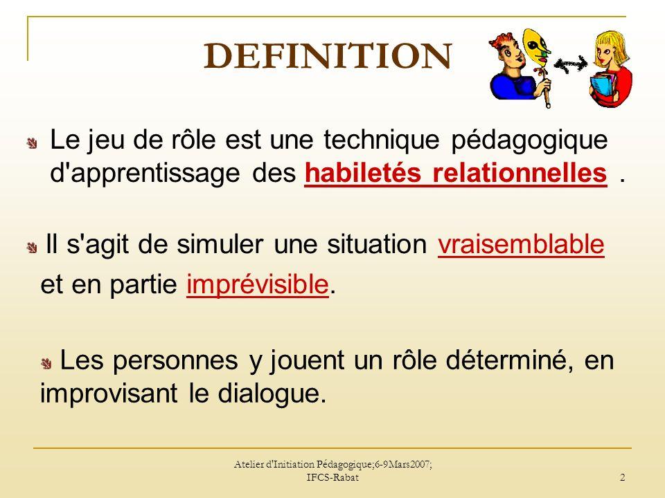 Atelier d Initiation Pédagogique; 6-9 Mars 2007; IFCS-Rabat