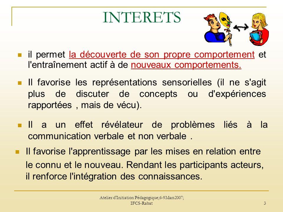 Atelier d Initiation Pédagogique;6-9Mars2007; IFCS-Rabat