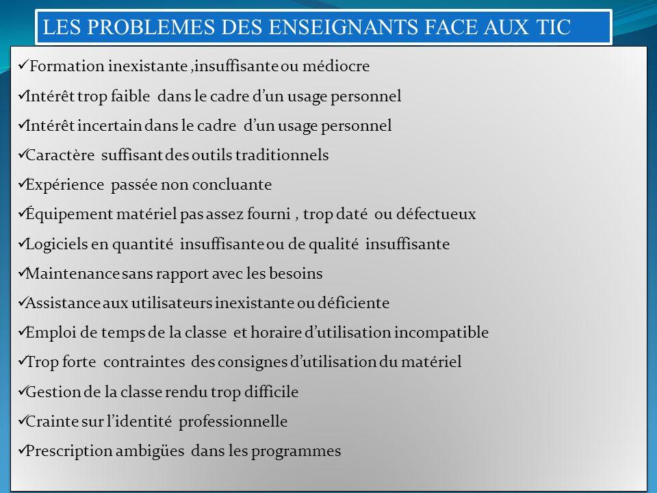 LES PROBLEMES DES ENSEIGNANTS FACE AUX TIC