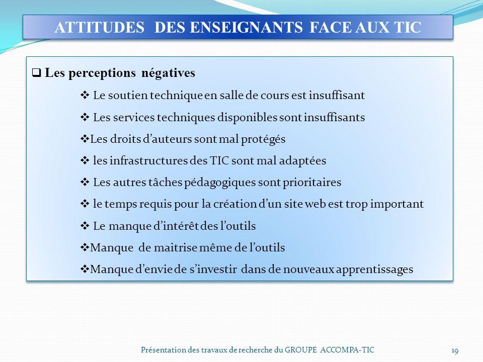ATTITUDES DES ENSEIGNANTS FACE AUX TIC