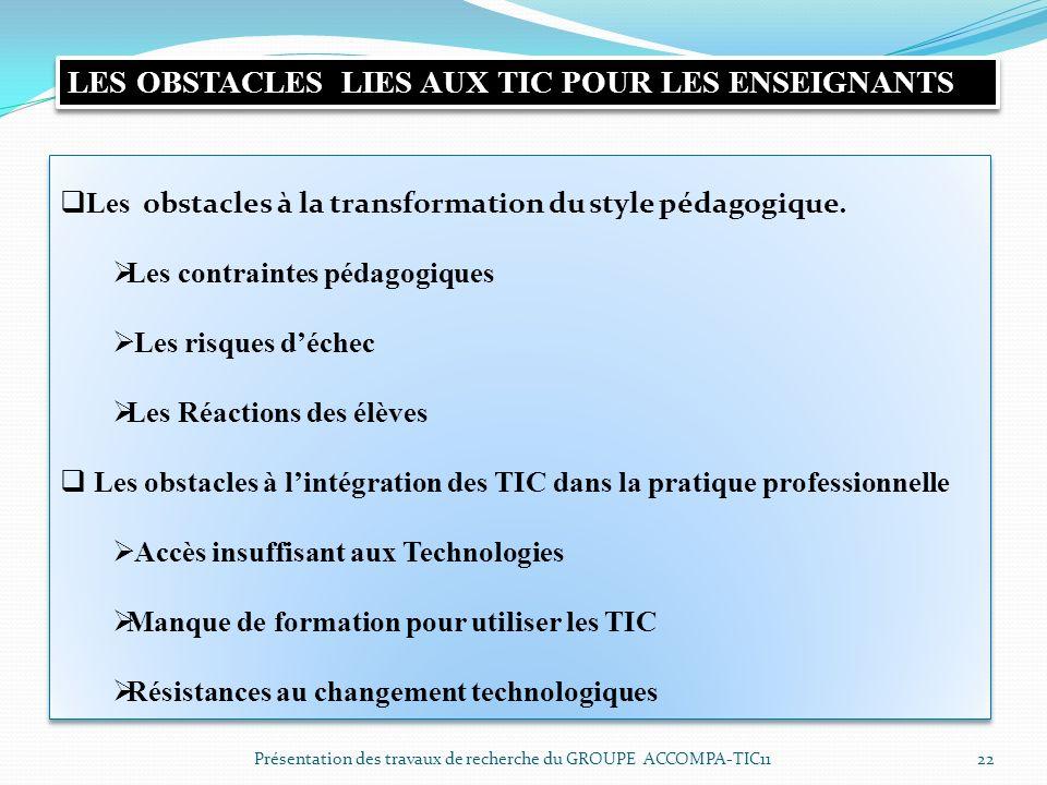 LES OBSTACLES LIES AUX TIC POUR LES ENSEIGNANTS