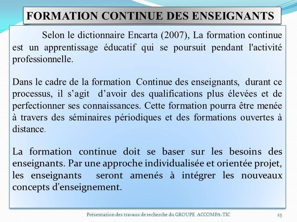 FORMATION CONTINUE DES ENSEIGNANTS