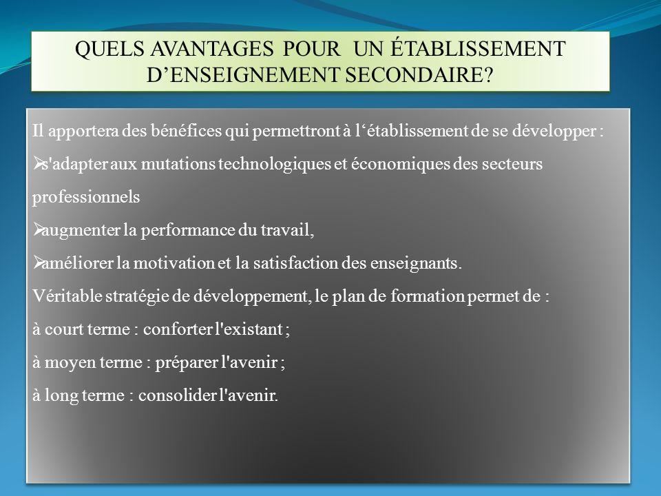 QUELS AVANTAGES POUR UN ÉTABLISSEMENT D'ENSEIGNEMENT SECONDAIRE