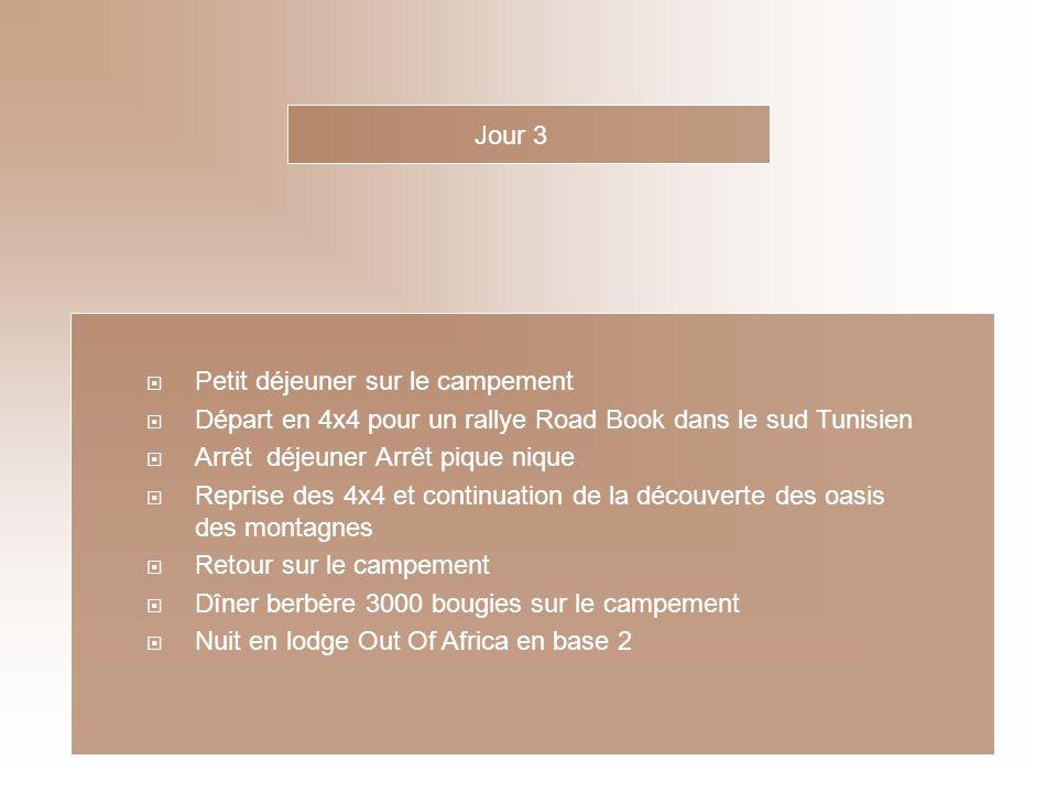 Jour 3 Petit déjeuner sur le campement. Départ en 4x4 pour un rallye Road Book dans le sud Tunisien.